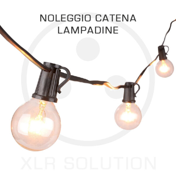 catena lampadine, illuminazione matrimoni, xlr solution, noleggio luci